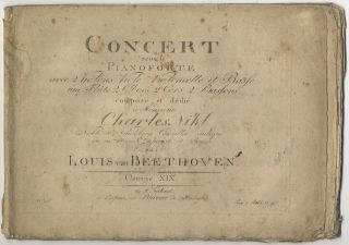 Op. 19]. Concert pour le Pianoforte [First Piano Concerto, piano part only]. Ludwig van BEETHOVEN