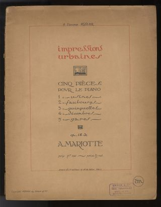 Op. 14]. Impressions urbaine pour piano. With autograph inscription from the composer to. Antoine...