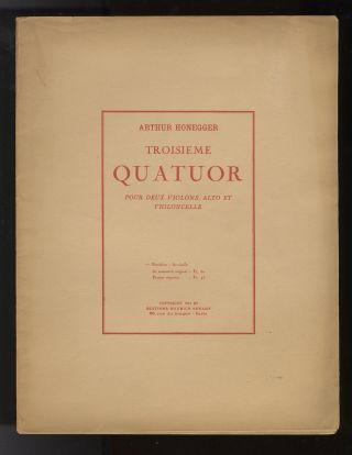 Troisieme quatuor [Facsimile of the autograph full score]. Arthur HONEGGER