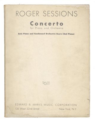 Concerto for Piano and Orchestra [Condensed score]. With composer's autograph inscription. Roger...