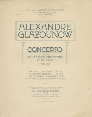 Op. 92]. Piano Concerto No. 1 in F minor [2-piano reduction]. Aleksandr GLAZUNOV