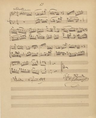 Autograph musical manuscript of a complete work for keyboard. Signed and dated Dresden. Johann...