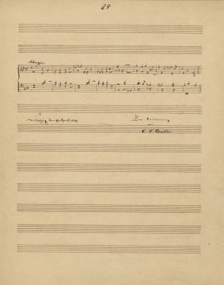 Autograph musical quotation signed and dated Leipzig, April 19, 1849. Carl Ferdinand BECKER
