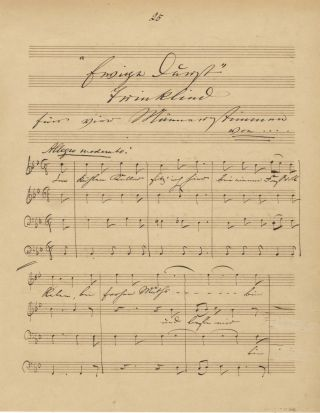 Autograph musical quotation signed and dated Leipzig, April 19, 1849
