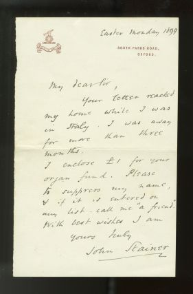Autograph letter signed in full. Sir John STAINER