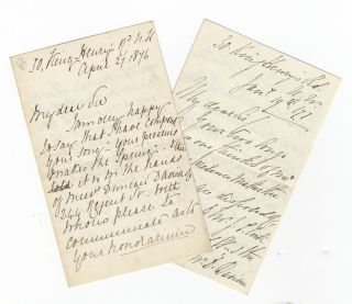 Two secretarial letters to the author and poet Frederick Langbridge (1849-1922), one signed by...