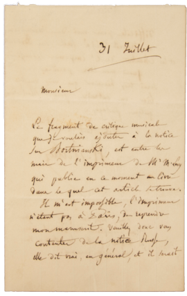 "Autograph letter signed (""H. Berlioz"") regarding his article on Dmitri Bortnyansky. Hector BERLIOZ"