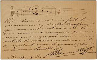 Autograph letter signed in full, with 3-measure unidentified autograph musical quotation. WOLFF....