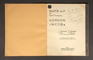 Suite in F. [Full score]. Inscribed and signed by the composer